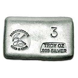 3 oz Silver Bar - Prospector's Gold & Gems