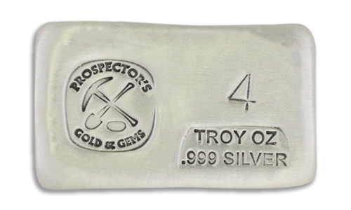 4 Prospectors Hand Poured Silver Bar