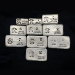 (55 oz) 1 oz-10 oz Silver Bar - Prospector's Gold & Gems
