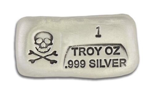 1 Ounce Scull & Crossbone Prospectors Hand Poured Silver Bar