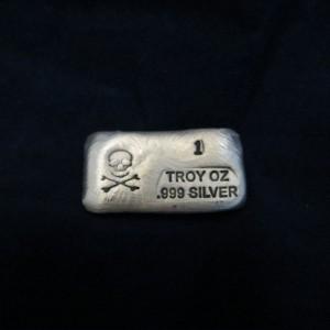 1 oz Silver Bar-Skull and Bones