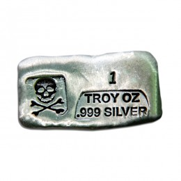1 Ounce Prospectors Skull & Crossbone Silver Bar