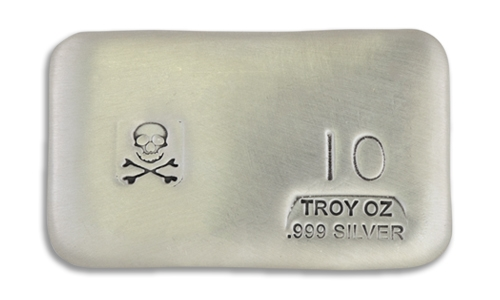10 Ounce Scull & Crossbone Prospectors Hand Poured Silver Bar
