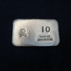 10 oz Silver Bar-Skull and Crossbones