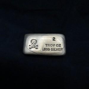 2 oz Silver Bar-Skull and Bones