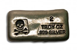 2 oz Silver Bar-Skull and Crossbones