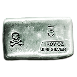 3-oz-Silver-Bar-Prospectors-Gold-Gems-Skull and Bones