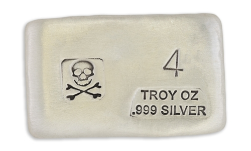 4 Ounce Scull & Crossbone Prospectors Hand Poured Silver Bar