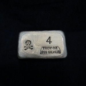 4 oz Silver Bar-Skull and Bones