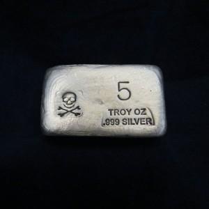 5 oz Silver Bar-Skull and Bones