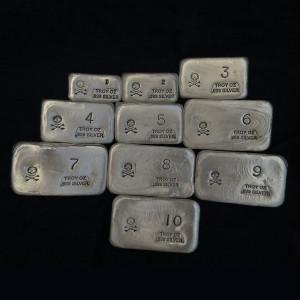 (55 oz) 1 oz-10 oz Silver Bar-Skull and Crossbones