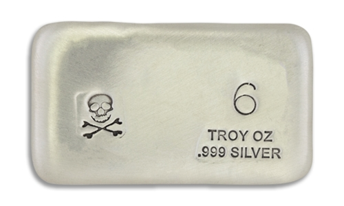 6 Ounce Scull & Crossbone Prospectors Hand Poured Silver Bar