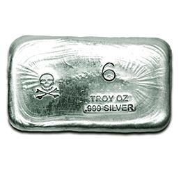 6-oz-Silver-Bar-Prospectors-Gold-Gems-Skull and Bones