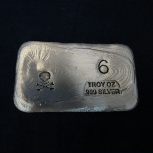 6 oz Silver Bar-Skull and Bones