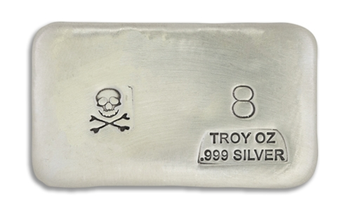 8 Ounce Scull & Crossbone Prospectors Hand Poured Silver Bar