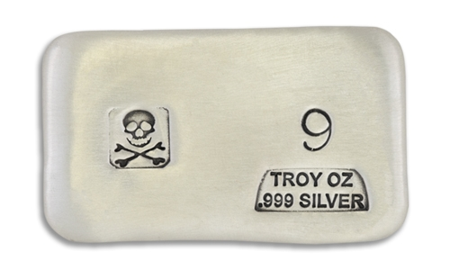 9 Ounce Scull & Crossbone Prospectors Hand Poured Silver Bar