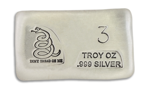 3 Ounce Dont Tread On Me Prospectors Hand Poured Silver Bar