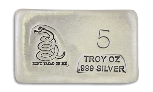 5 Ounce Prospectors Dont Tread on Me Hand Poured Silver Bar