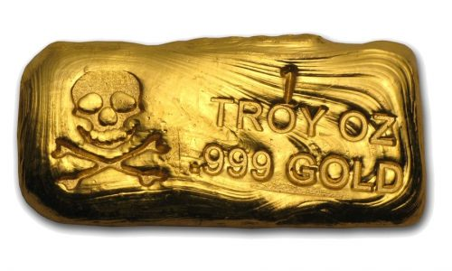 1 Ounce Prospectors Gold & Gems Scull and Crossbone Gold Bar