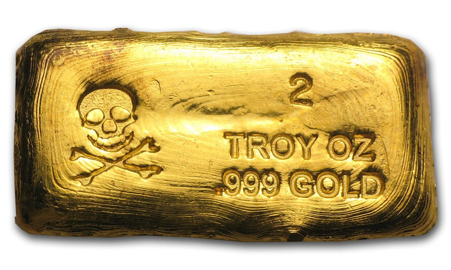 2 Ounce Prospectors Gold & Gems Skull and Crossbone Gold Bar