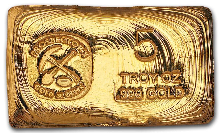 5 Ounce Prospectors Gold & Gems Gold Bar