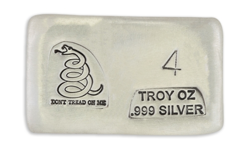 4 Ounce Prospectors Dont Tread on Me Hand Poured Silver Bar