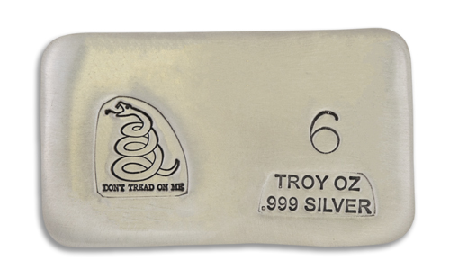 6 Ounce Dont Tread on Me Prospectors Hand Poured Silver Bar