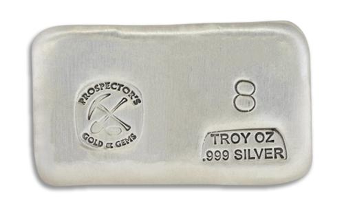 8 Prospectors Hand Poured Silver Bar