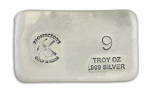 9 Prospectors Hand Poured Silver Bar