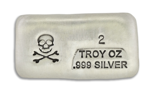 2 Ounce Scull & Crossbone Prospectors Hand Poured Silver Bar