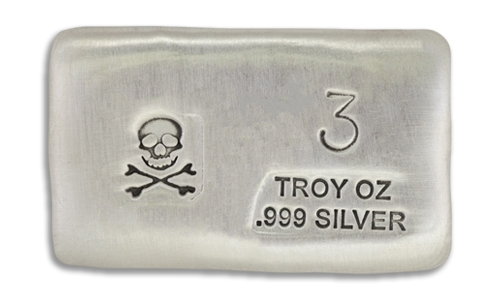 3 Ounce Scull & Crossbone Prospectors Hand Poured Silver Bar