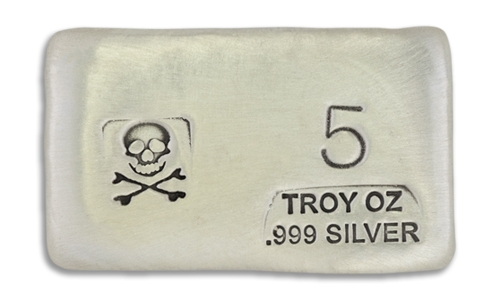 5 Ounce Scull & Crossbone Prospectors Hand Poured Silver Bar