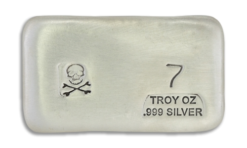 7 Ounce Scull & Crossbone Prospectors Hand Poured Silver Bar