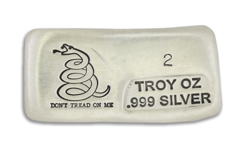 2 Ounce Dont Tread On Me Prospectors Hand Poured Silver Bar