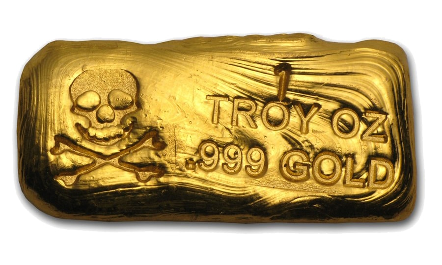 Gold Bar Skull Crossbones