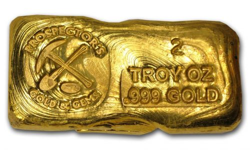 2 Ounce Prospectors Gold & Gems Gold Bar